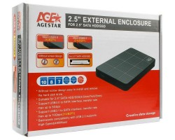"""External case for HDD 2.5"""" AgeStar 3UB2P1 Black (2.5"""", SATA, USB3.0, W/O Screws) 81x15x133мм RTL"""