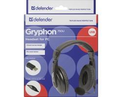 Компьютерная гарнитура Defender Gryphon 750U USB, черный, 1.8м кабель 63752
