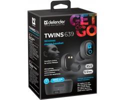 Беспроводная гарнитура Defender Twins 639 черный,TWS, PB, Bluetooth 63639