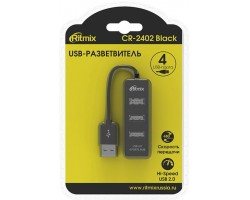 Концентратор USB 2.0 Ritmix CR-2402 black