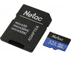 Карта памяти microSDHC Netac NT02P500STN-032G-R (32 Гб, A1, V10, UHS-I Class 1 (U1), Class 10)