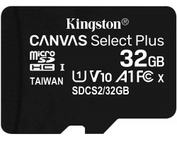 Карта памяти microSDHC Kingston Canvas Select Plus SDCS2/32GBSP (32 Гб, A1, V10, UHS-I Class 1 (U1), Class 10)