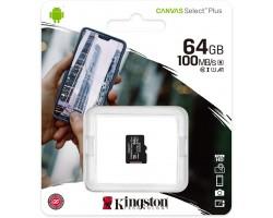 Карта памяти microSDXC Kingston Canvas Select Plus SDCS2/64GBSP (64 Гб, A1, V10, UHS-I Class 1 (U1), Class 10)