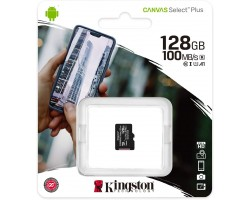 Карта памяти microSDXC Kingston Canvas Select Plus SDCS2/128GBSP (128 Гб, A1, V10, UHS-I Class 1 (U1), Class 10)
