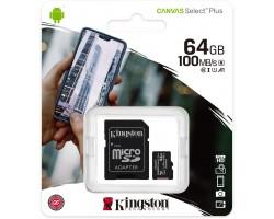 Карта памяти microSDXC Kingston Canvas Select Plus SDCS2/64GB (64 Гб, A1, V10, UHS-I Class 1 (U1), Class 10)