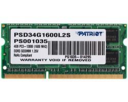 Оперативная память SODIMM DDR3L 4Гб 1600МГц PATRIOT PSD34G1600L2S