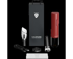 Аксессуары для напитков PRESTIGIO PWO106RD Prestigio Valenze, smart wine opener, simple operation with 2 buttons, aerator, vacuum stopper preserver, foil cutter, opens up to 80 bottles without recharging, 500mAh battery, Dimensions D 48.5*H220mm, red colo