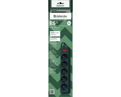 Сетевой фильтр Defender ES 3 Black (3 метра, 5 розеток)