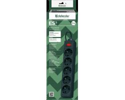 Сетевой фильтр Defender ES 5 Black (5 метров, 5 розеток)